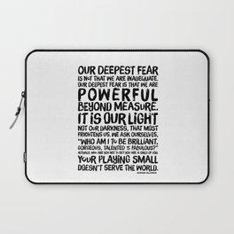 Inspirational Print. Powerful Beyond Measure. Marianne Williamson, Nelson Mandela quote. Laptop Sleeve