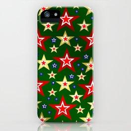 grenn,blue,gold,red stars xmas pattern iPhone Case