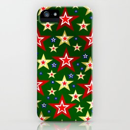 grenn,blue,gold,red stars xmas pattern iPhone Case