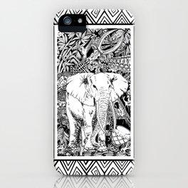 White Elephant Indian Ink Tribal Art iPhone Case