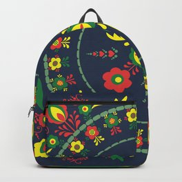 Folk Flowers with Green  Border Backpack