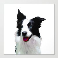 border collie Canvas Prints featuring Border Collie by Albert Tjandra