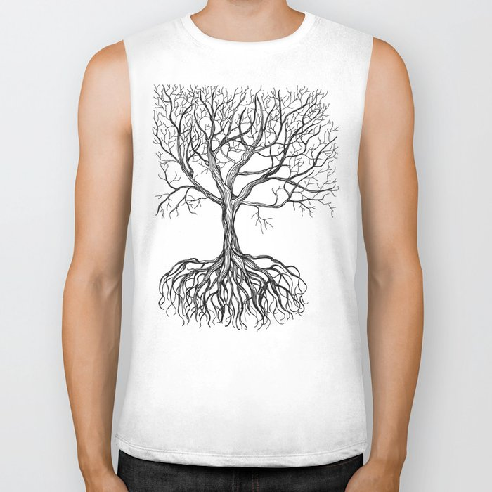 Bare tree with root Biker Tank