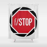 aperture Shower Curtains featuring f/STOP SIGN by Sandhill