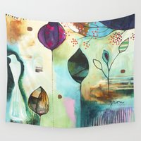 "flora bowley Wall Tapestries featuring ""Abundance"" Original Painting by Flora Bowley  by Flora Bowley"