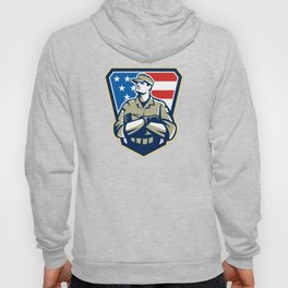 American Soldier Arms Folded Flag Retro Hoody