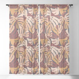 Color Block Monstera Leaves in Maroon Sheer Curtain