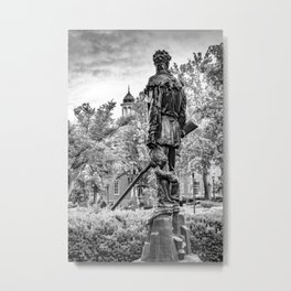 West Virginia Mountaineer Statue Black White Metal Print