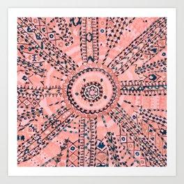 Light Pink Wildflower Sunshine I // 18th Century Colorful Pinkish Dusty Blue Gray Positive Pattern Art Print