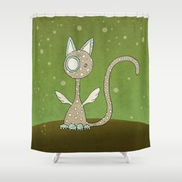 Winged polka-dotted beige cat and spring Shower Curtain