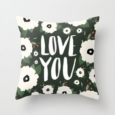 Love you floral - Dark Green Throw Pillow