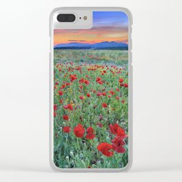 """""""Red dreams"""" Poppies at sunset Clear iPhone Case"""