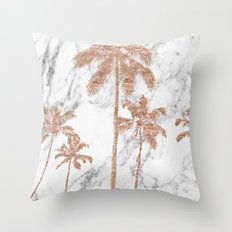 Rose gold palms on marble Throw Pillow
