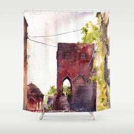 Rhodes old town streets Shower Curtain