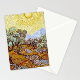 Van Gogh - Olive Trees with yellow sky and sun Stationery Cards