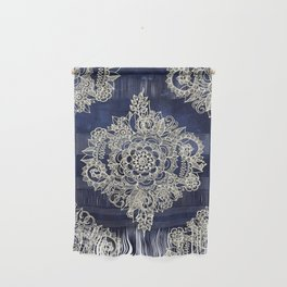 Cream Floral Moroccan Pattern on Deep Indigo Ink Wall Hanging