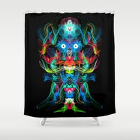 avatar Shower Curtains featuring Neon Owl Avatar by Spires