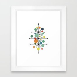 Atomic Age Nuclear Abstract Motif — Mid Century Modern Pattern Framed Art Print