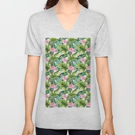 Pink green watercolor flamingo tropical monster leaves Unisex V-Neck