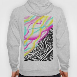 Abstract rainbow neon watercolor paint contrast black white geometric hand drawn stripes pattern Hoody