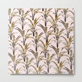 Yellow Bannana Plants on Pink Metal Print