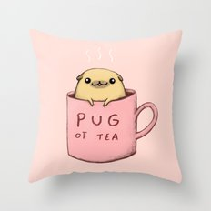 Pug of Tea Throw Pillow