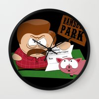parks Wall Clocks featuring South Parks and Rec by JVZ Designs
