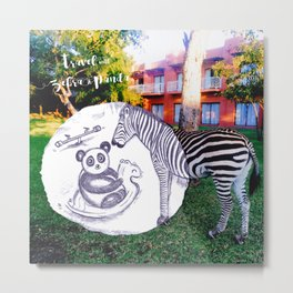 Travel with Zebra and Panda Metal Print
