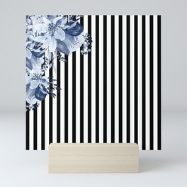 Blue Boho Flowers and Vertical Stripes Mini Art Print