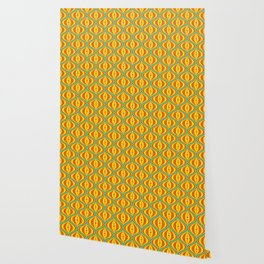 Retro Psychedelic Saucer Pattern in Orange, Yellow, Turquoise Wallpaper