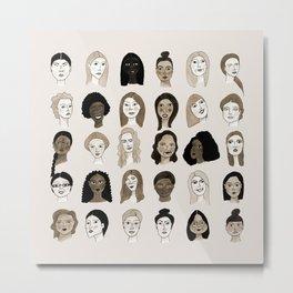 Women faces in sepia palette Metal Print