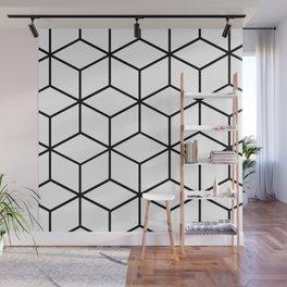 Black and White - Geometric Cube Design I Wall Mural