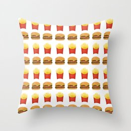 Burgers and Fries Pattern Throw Pillow