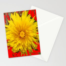 DECORATIVE  YELLOW DANDELION BLOSSOM ON ORGANIC RED ART Stationery Cards
