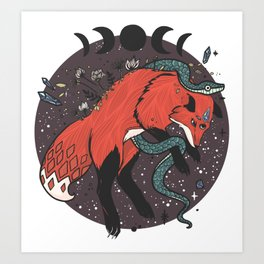 Jumping Fox With Snake, Gemstones, Moon Phases, And Witch Design Elements Art Print