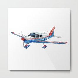 Airplane aircraft print plane Kids room wall decor painting watercolour ink Art Illustration boy girl Nursery Colorful Metal Print