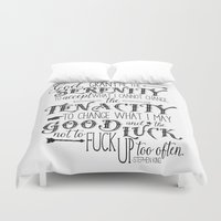 stephen king Duvet Covers featuring God, Grant Me.. quote by Stephen King by Evie Seo
