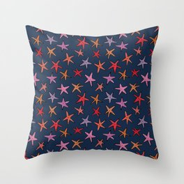 Starfishes in deep ocean Throw Pillow