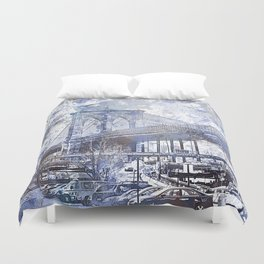 Brooklyn Bridge New York USA Watercolor blue Illustration Duvet Cover