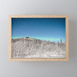 Alaska Northern Lights Fairbanks Aurora Borealis Winter Night Landscape Framed Mini Art Print