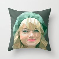 emma stone Throw Pillows featuring Emma Stone by You Xiang