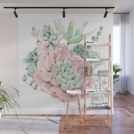 Pink Succulents by Nature Magick Wall Mural
