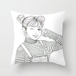 Stripes - fashion art, girl drawing, girl portrait, fashion illustration Throw Pillow