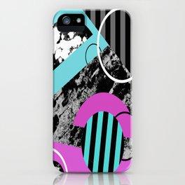 Bits N Pieces III - Abstract, geomtric, random, textured, stripes, black, pink, cyan, artwork iPhone Case