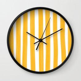 Sunny Yellow Paint Stripes Wall Clock