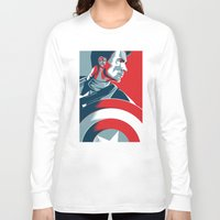 avenger Long Sleeve T-shirts featuring The First Avenger by Olivia Desianti