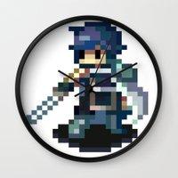 fire emblem Wall Clocks featuring Chrom Pixels - Fire Emblem Awakening by MKwon