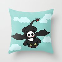 how to train your dragon Throw Pillows featuring How Panda Train Your Dragon by Pandakuma Store