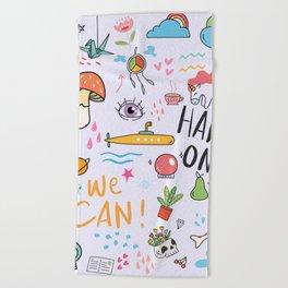 Doodle Tattoo Pop Art - unicorn, space, boho doodles Beach Towel