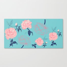 Vintage roses and peonies in bohemian style Canvas Print